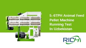 5-6TPH Animal Feed Pellet Machine Running Test in Uzbekistan