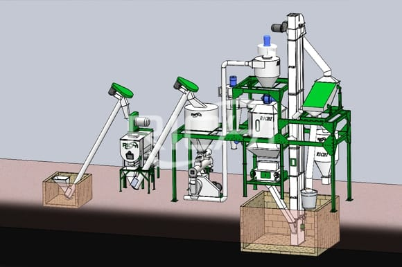 simple home use poultry chicken feed pellet making line machine price